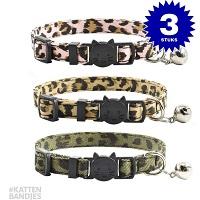 Tiban Kattenhalsband Halsband kat luipaardprint 3-pack